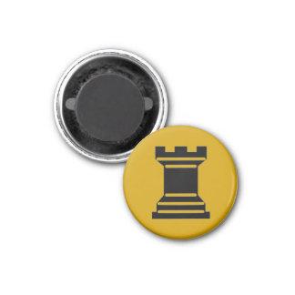 "Chess 1-1/4"" Fridge Magnet ~ Rook (Gold)"