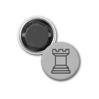 "Chess 1-1/4"" Fridge Magnet ~ Rook (Silver)"