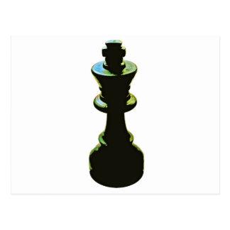 Chess, Black King, White Background Postcard