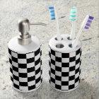 Chess Board Black and White Tiles Soap Dispenser And Toothbrush Holder