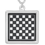 Chess Board Square Pendant Necklace