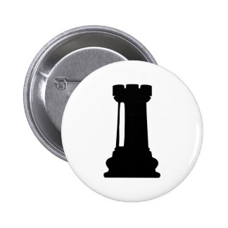 Chess castle 6 cm round badge