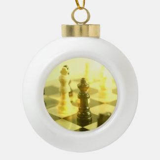 Chess Ceramic Ball Christmas Ornament