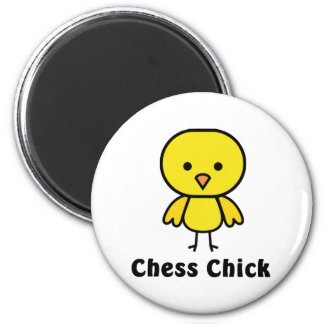 Chess Chick 6 Cm Round Magnet