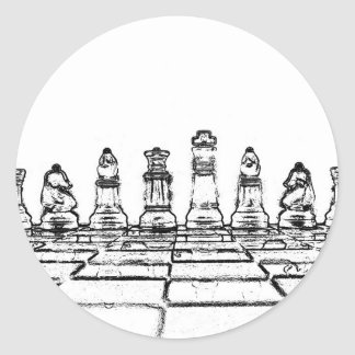 Chess Classic Round Sticker