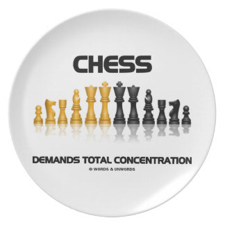 Chess Demands Total Concentration Chess Set Dinner Plate