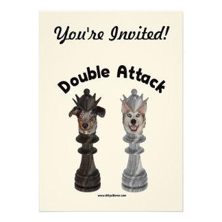 Chess Double Attack Dogs Personalized Invitation