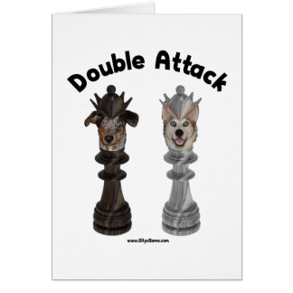 Chess Double Attack Dogs Note Card