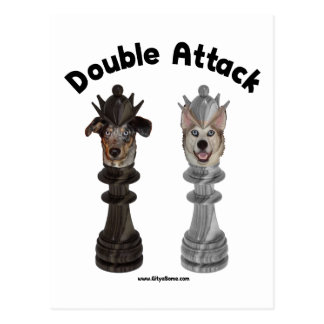 Chess Double Attack Dogs Post Card