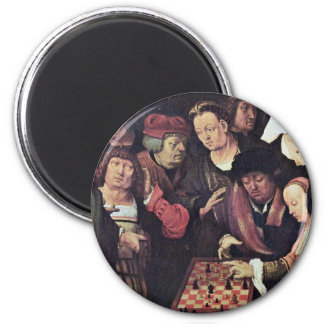 Chess Game By Leyden Lucas Van (Best Quality) 6 Cm Round Magnet