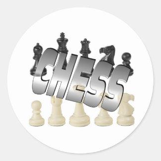 Chess Game Classic Round Sticker