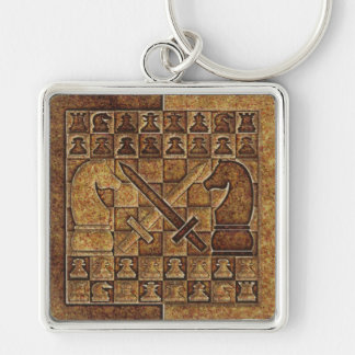 CHESS GAME IN STONE Silver-Colored SQUARE KEY RING