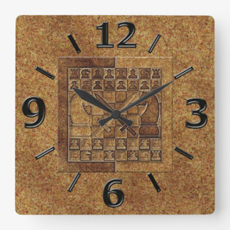 CHESS GAME IN STONE SQUARE WALL CLOCK