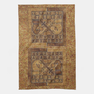 CHESS GAME IN STONE TEA TOWEL
