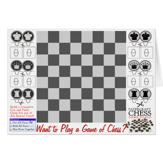 Chess Game Papercraft Card