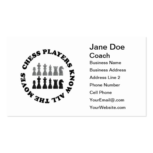 Chess Game Pieces Business Card Templates