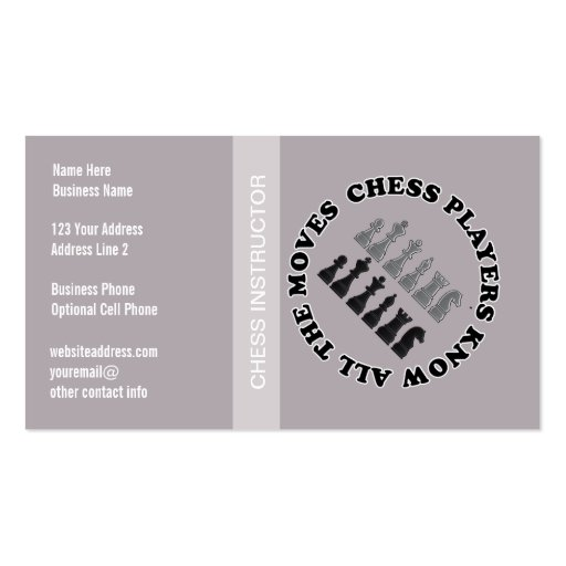 Chess Game Pieces Business Card Template