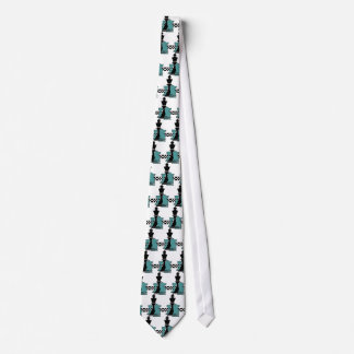 Chess Game Player Pieces Fashion Teal Grey Blk Tie