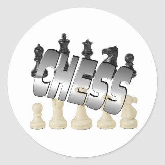 Chess Game Round Sticker