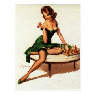Chess Girl Pin Up Postcard