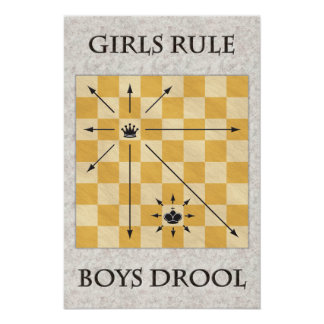 Chess - Girls Rule, Boys Drool Poster