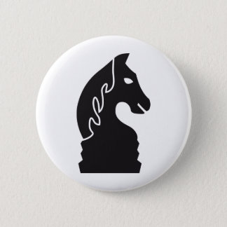 chess horse 6 cm round badge
