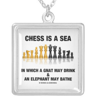 Chess Is A Sea In Which Gnat May Drink Elephant Square Pendant Necklace