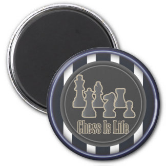 Chess Is Life Blue Round Magnet