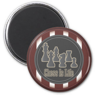 Chess Is Life Red Round Magnet