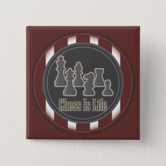 Chess Is Life Red Square Button