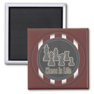 Chess Is Life Red Square Magnet