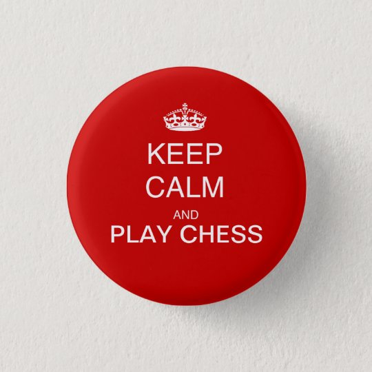 CHESS - keep calm and play chess red 3 Cm Round Badge