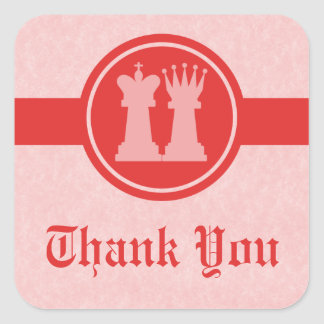 Chess King and Queen Thank You Stickers, Red Square Sticker