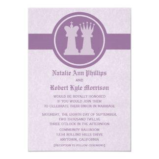 Chess King and Queen Wedding Invitation, Purple 13 Cm X 18 Cm Invitation Card