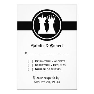 Chess King and Queen Wedding Response Card 9 Cm X 13 Cm Invitation Card