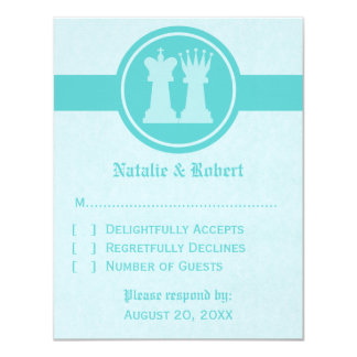Chess King and Queen Wedding Response Card, Aqua 11 Cm X 14 Cm Invitation Card