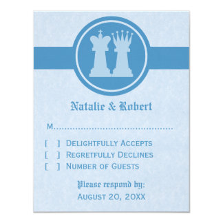 Chess King and Queen Wedding Response Card, Blue 11 Cm X 14 Cm Invitation Card