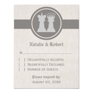 Chess King and Queen Wedding Response Card, Gray 11 Cm X 14 Cm Invitation Card