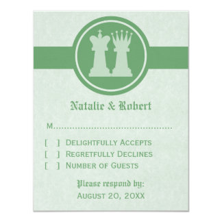 Chess King and Queen Wedding Response Card, Green 11 Cm X 14 Cm Invitation Card