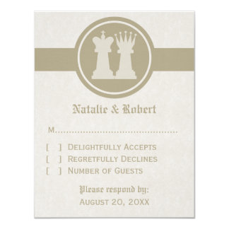 Chess King and Queen Wedding Response Card, Latte 11 Cm X 14 Cm Invitation Card