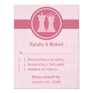 Chess King and Queen Wedding Response Card, Pink 11 Cm X 14 Cm Invitation Card