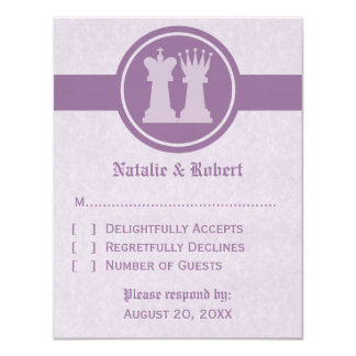 Chess King and Queen Wedding Response Card, Purple 11 Cm X 14 Cm Invitation Card