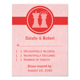 Chess King and Queen Wedding Response Card, Red 11 Cm X 14 Cm Invitation Card