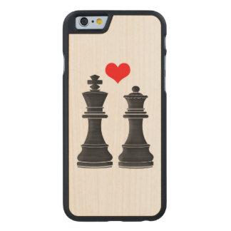 Chess King and Queen with Heart Carved® Maple iPhone 6 Case