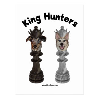 Chess King Hunters Dogs Postcards