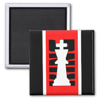 Chess King White Customizable Square Magnet