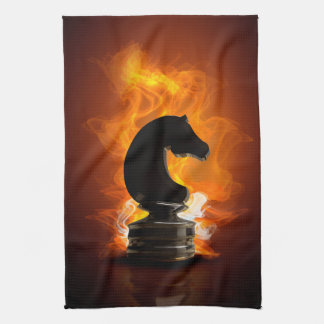 Chess Knight in Flames Tea Towel
