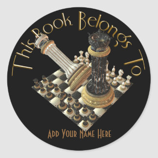 Chess Maniac Bookplate Round Sticker