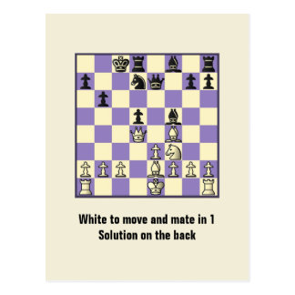 Chess Mate In 1 Puzzle #2 Postcard