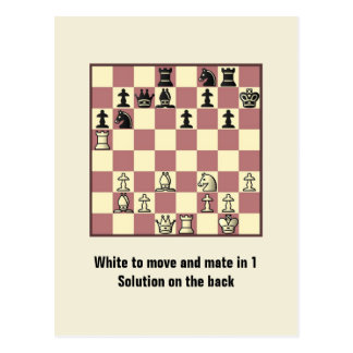 Chess Mate In 1 Puzzle #4 Postcard